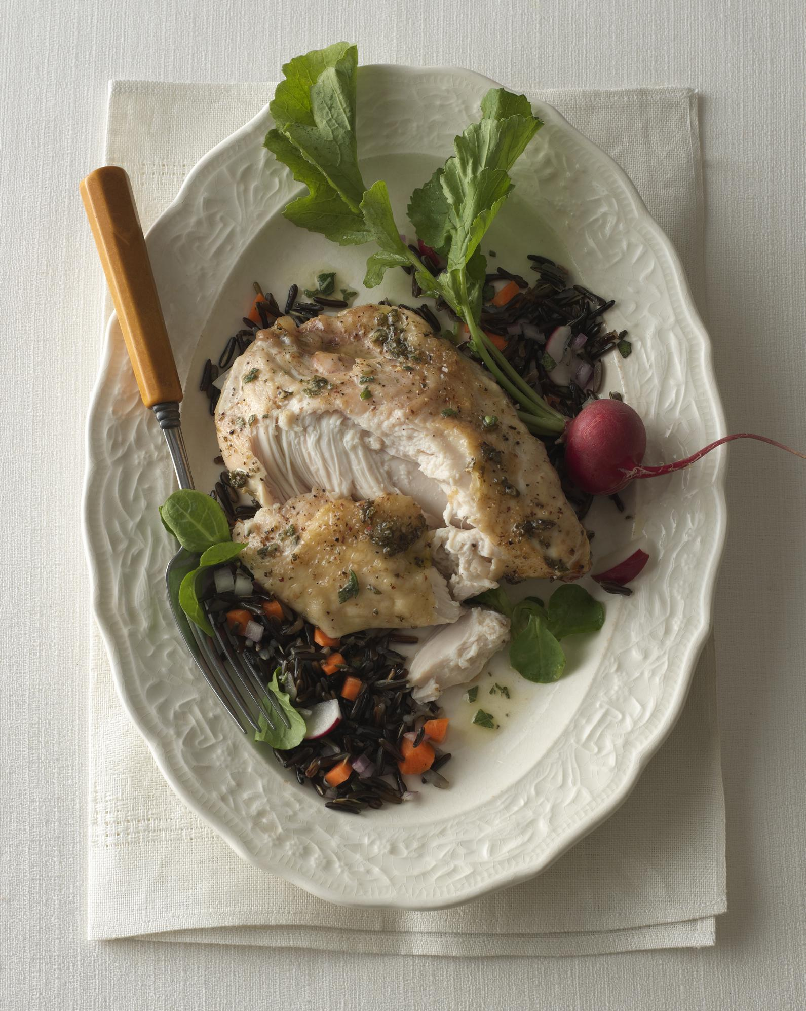 Sage-Roasted Chicken with Wild Rice Salad