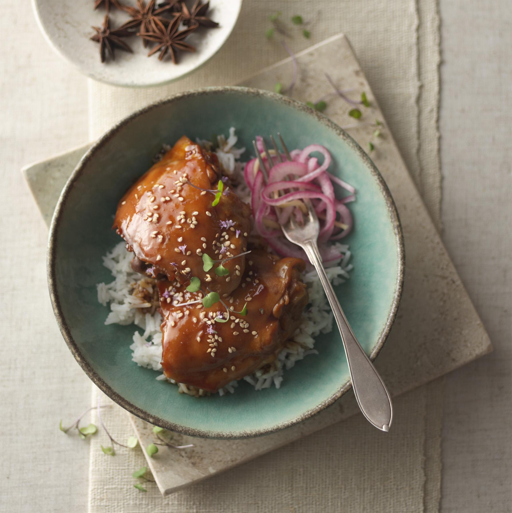 Soy-Braised Chicken with Pickled Ginger Onions