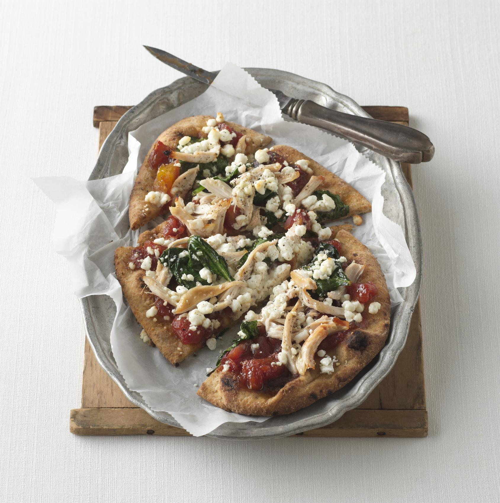 Rotisserie Chicken Naan Pizza with Spinach, Queso Fresco, & Fire-Roasted Tomato-Mango Chutney Sauce