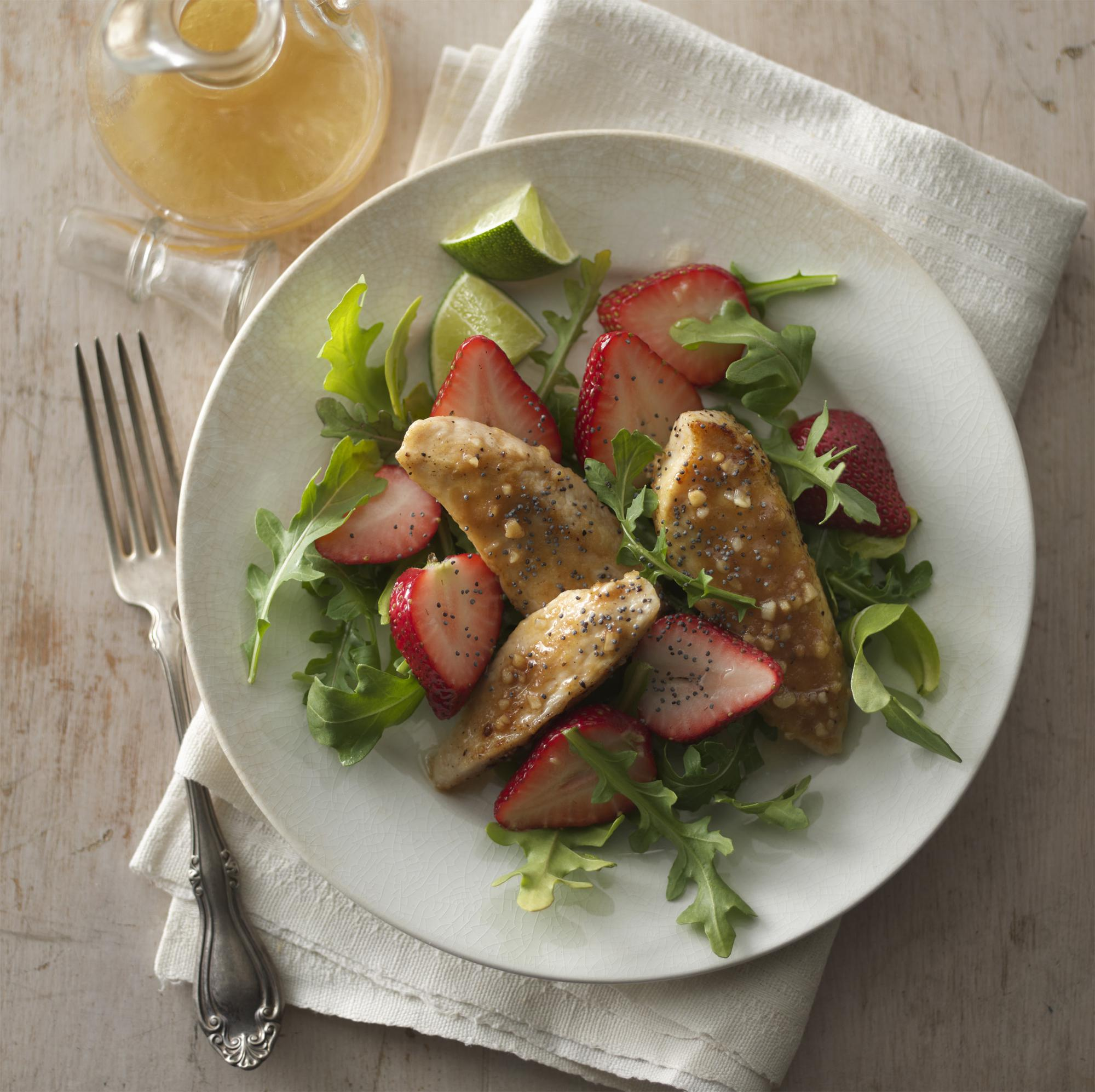 Strawberry Arugula Salad with Glazed Ginger Honeyed Chicken Tenders