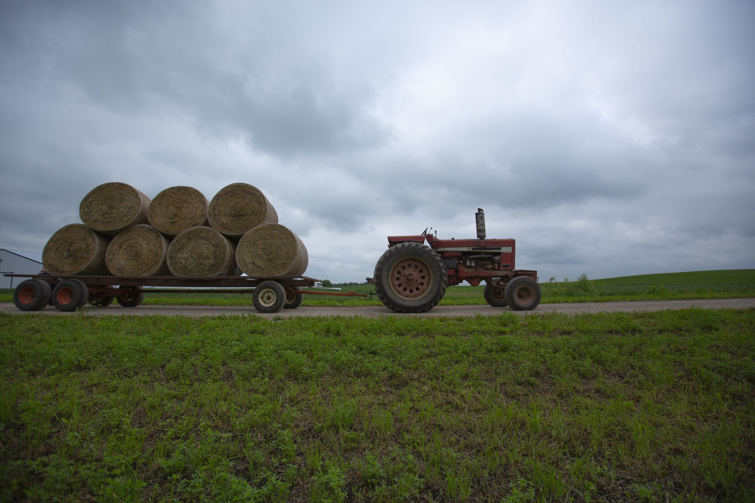 Tractor pulling trailer with giant bales of hay on it.
